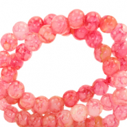 6 mm marbled glass beads Azalea Pink