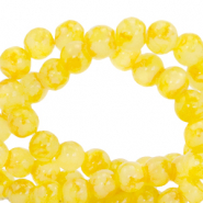 6 mm marbled glass beads Freesia Yellow