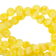 4 mm marbled glass beads Freesia Yellow