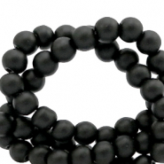 6 mm glass beads matt Black