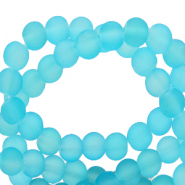 6 mm glass beads matt Bleached Coral Blue