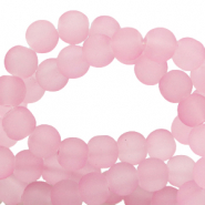 6 mm glass beads matt Vintage Pink