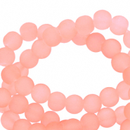 6 mm glass beads matt Peachy Coral Orange