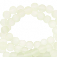 6 mm glass beads matt Off White