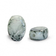 Oval glass beads 8x11 mm Grey-Silverline