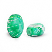 Oval glass beads 8x11 mm Eden Green-Silverline