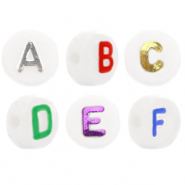 Acrylic letter beads mix White-Metallic Multi Colour
