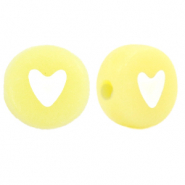 Acrylic letter beads mix heart Yellow Iris