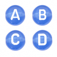 Acrylic letter beads mix Princess Blue Transparent