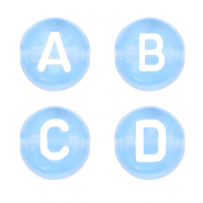 Acrylic letter beads mix Chambray Blue Transparent