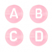 Acrylic letter beads mix Blossom Pink Transparent