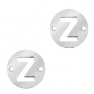 Stainless steel charms connector round 10mm initial coin Z Silver