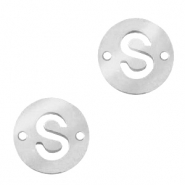 Stainless steel charms connector round 10mm initial coin S Silver