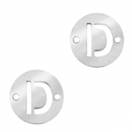 Stainless steel charms connector round 10mm initial coin D Silver