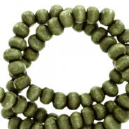 Wooden beads round 6mm Olive Green