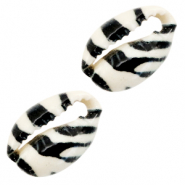 Shell beads specials Cowrie Black-White Tiger