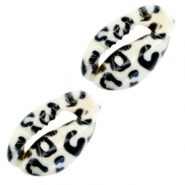 Shell beads specials Cowrie Black-White Leopard