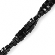 Top faceted beads cube 2x2mm Black-Pearl Shine coating