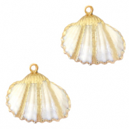 Shell pendant specials Cockles Gold-White