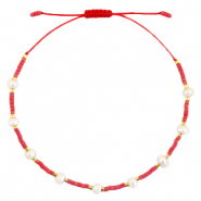 Anklets / Ankle bracelets Pearl Miyuki Coral Red