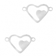 Stainless steel charms/connector heart Silver