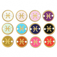 Wooden pendants/connector 12mm zodiac sign Pisces Multicolour Gold