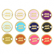 Wooden pendants/connector 12mm zodiac sign Aquarius Multicolour Gold