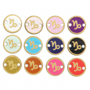 Wooden pendants/connector 12mm zodiac sign Capricorn Multicolour Gold