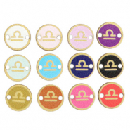 Wooden pendants/connector 12mm zodiac sign Libra Multicolour Gold