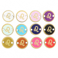 Wooden pendants/connector 12mm zodiac sign Leo Multicolour Gold
