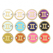 Wooden pendants/connector 12mm zodiac sign Gemini Multicolour Gold