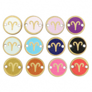 Wooden pendants/connector 12mm zodiac sign Aries Multicolour Gold