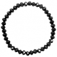 Top faceted bracelets 6x4mm Black-Pearl shine coating