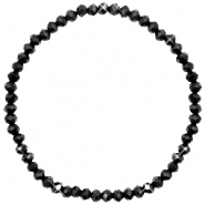 Top faceted bracelets 4x3mm Black-Pearl shine coating