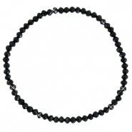 Top faceted bracelets 3x2mm Black-Pearl shine coating