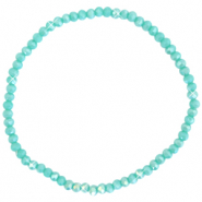 Top faceted bracelets 3x2mm Light Teal Green-Pearl Shine Coating