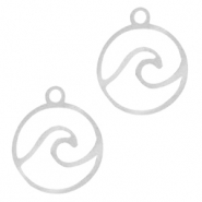 Stainless steel charms wave Silver