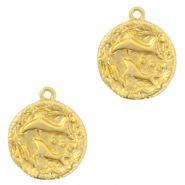 Brass TQ metal charms zodiac sign pisces Gold