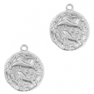 Brass TQ metal charms zodiac sign pisces Silver