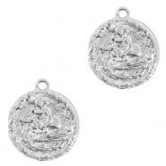 Brass TQ metal charms zodiac sign aquarius Silver