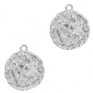 Brass TQ metal charms zodiac sign sagittarius Silver