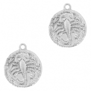 Brass TQ metal charms zodiac sign scorpio Silver
