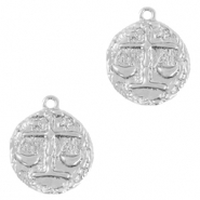 Brass TQ metal charms zodiac sign libra Silver