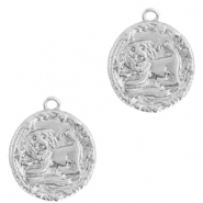 Brass TQ metal charms zodiac sign leo Silver