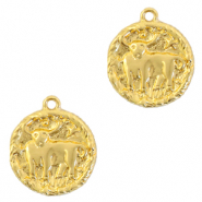 Brass TQ metal charms zodiac sign taurus Gold