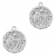Brass TQ metal charms zodiac sign taurus Silver