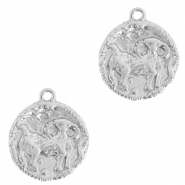 Brass TQ metal charms zodiac sign aries Silver