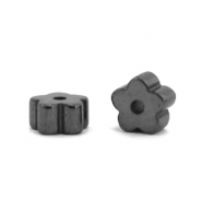 Hematite beads flower Anthracite Grey