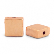 Hematite beads flat square Rose Gold