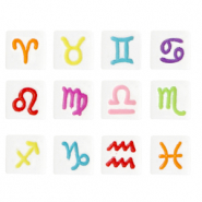 Acrylic letter beads zodiac sign mix White-Multicolour